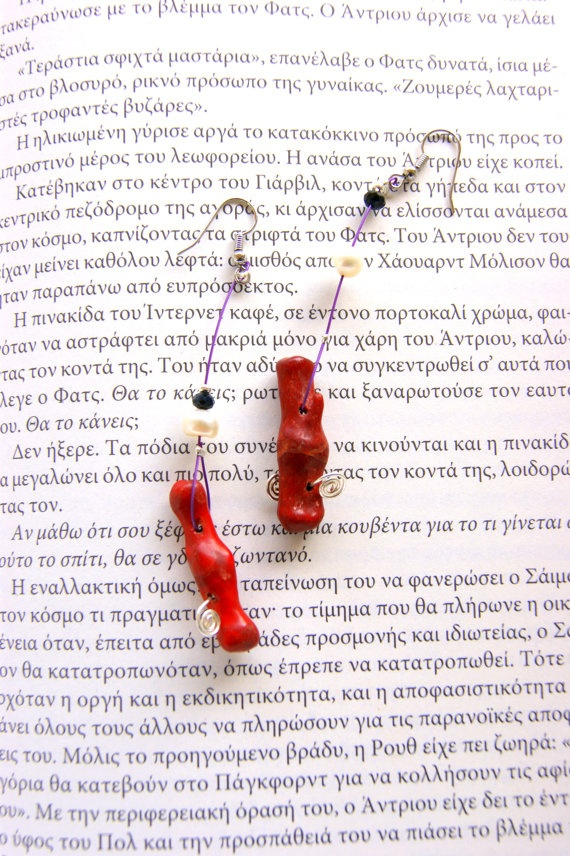 Mycenaean   earrings with red coral and real pearls by RenatasArt, €13.00