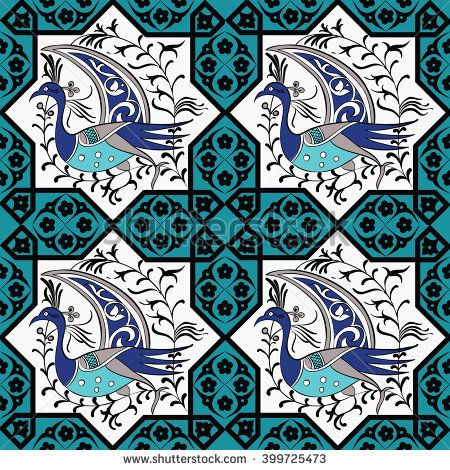 Seljuk-Turkish style Iznik tile seamless pattern design with stylized bird in octonal composition and floral decorations, repeating surface pattern for all web and print purposes.
