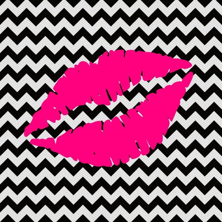 imagem para quadrinho -zig zag preto e branco -boca rosa-beijo - Blog Dikas e…