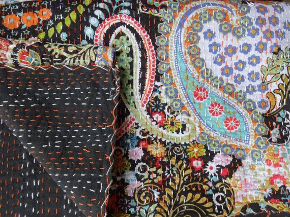 Handmade Paisley Kantha Bedding, Indian Cotton Bedspread, Reversible Kantha Quilt, Printed Bed Sheet, Queen Size on Etsy, $65.99