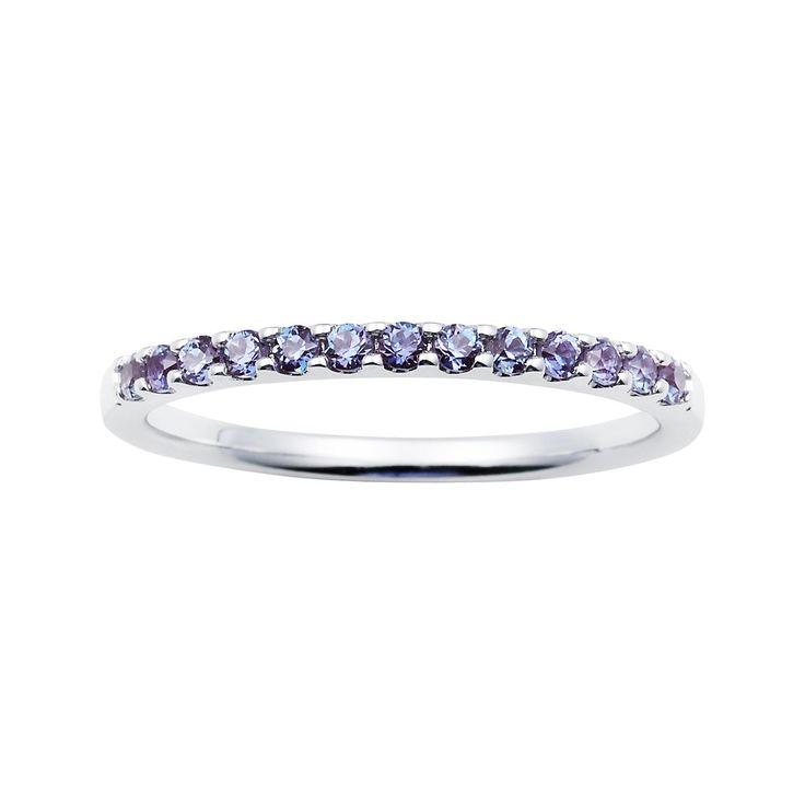 Boston Bay Diamonds 14k White Gold Created Alexandrite Stackable Band Ring