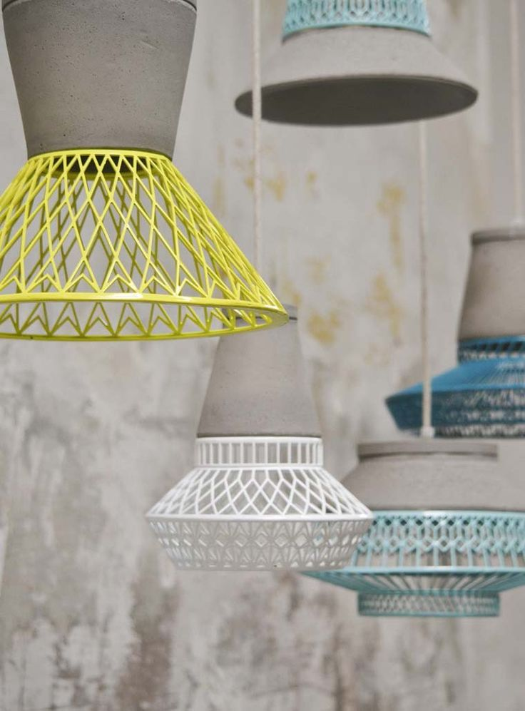 Geo wire and concrete lamps #lighting_design