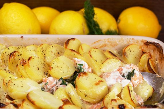 Salmon gratin with spinach dill and parsley food for Swedish fish recipe