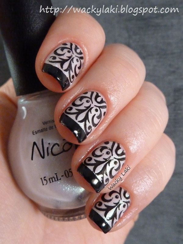 Thin Black French Tips with pearl White Nails and black water slide decals nail art