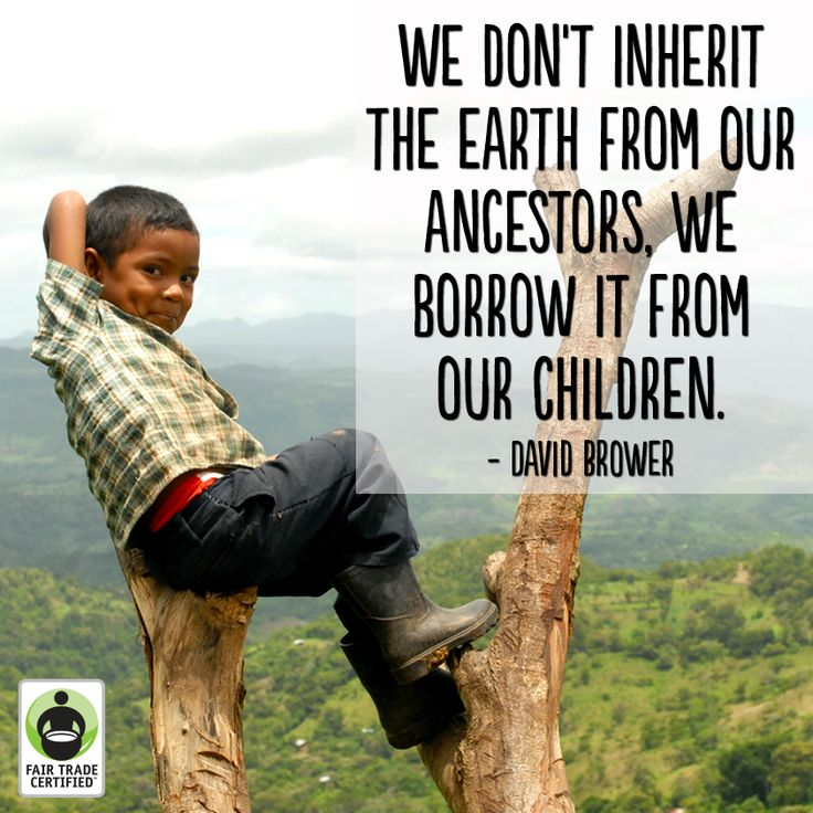 """""""We don't inherit the earth from our ancestors.  We borrow it from our children."""" - David Brower"""
