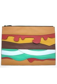 Hamburger Clutches from HAPPY FRIDAY in multi and brown_1