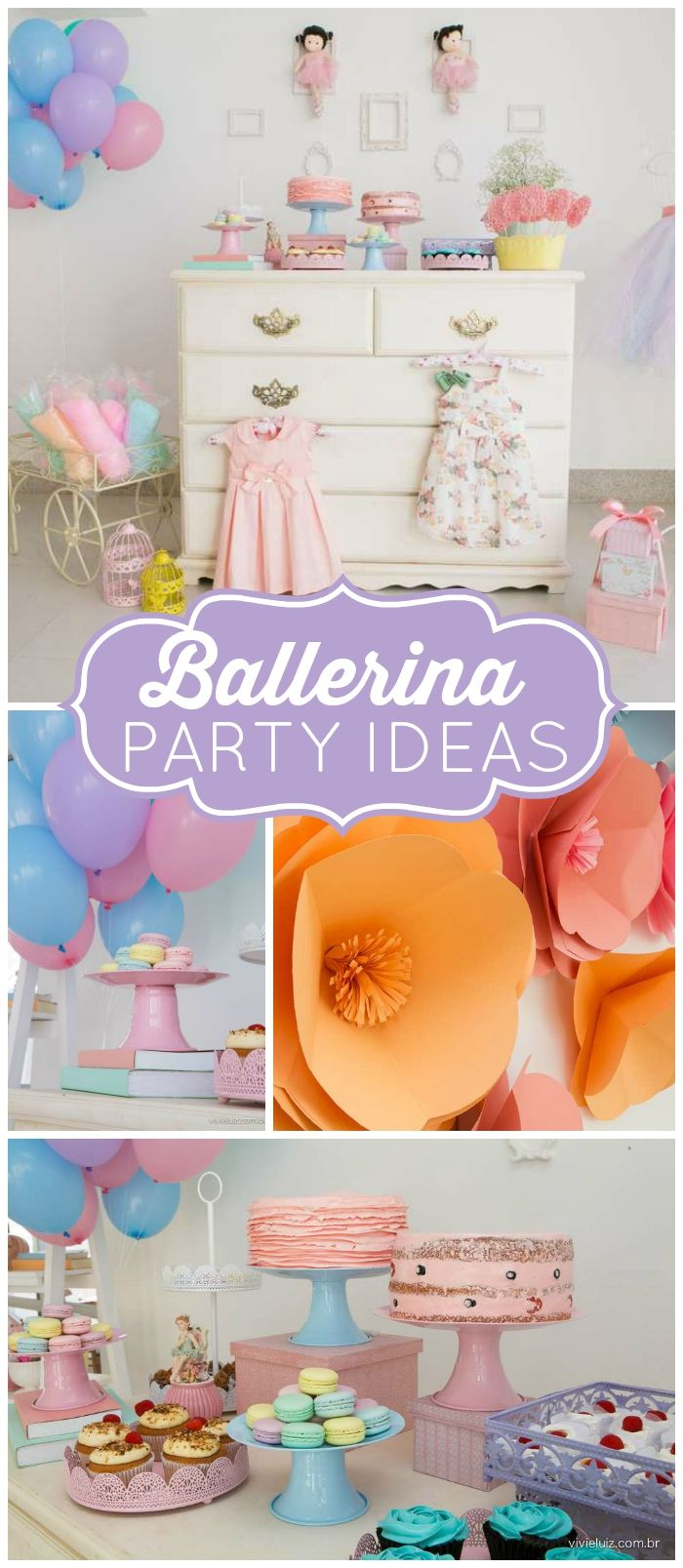 Lots of cute, girly details at this pastel ballerina party! See more party ideas at CatchMyParty.com!