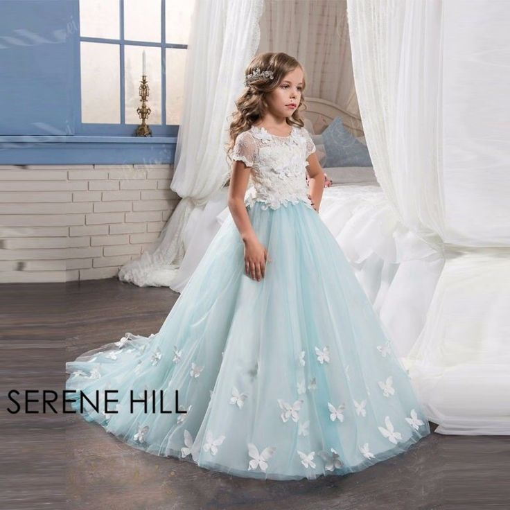 Vintage Mint Floral Lace Arabic 2017 Flower Girl Dresses For Weddings Short Sleeve Beaded Girls Pageant Party Dress Gown