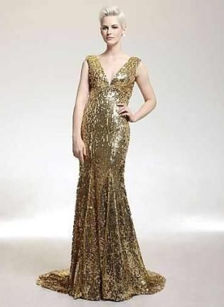Gold Formal Dress - Long Mermaid Gold Sequin Stretch