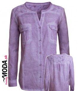 Moderná ružovo-fialová dámska blúzka batikovaného vzhľadu s dlhým rukávom pre moletky. - trendymoda.sk