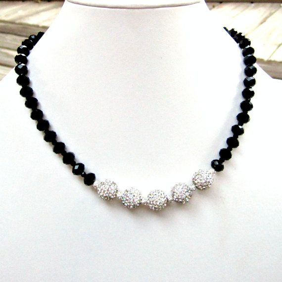 Crystal and Black Necklace Silver Jewelry Pave by jewelrybycarmal, $105.00