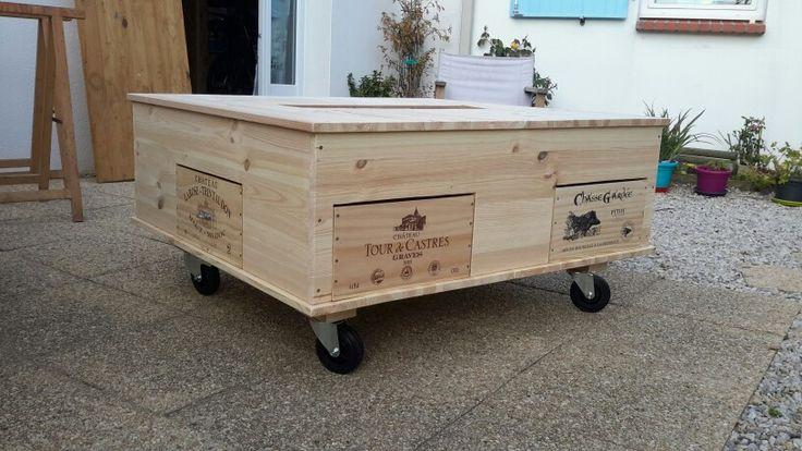 Table basse recyclage caisses de vin