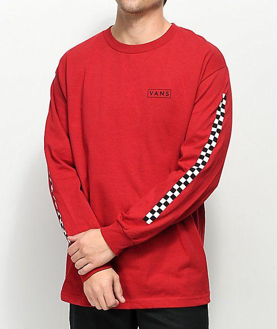 529ddedd043 Vans Checkmate Red   Black Long Sleeve T-Shirt