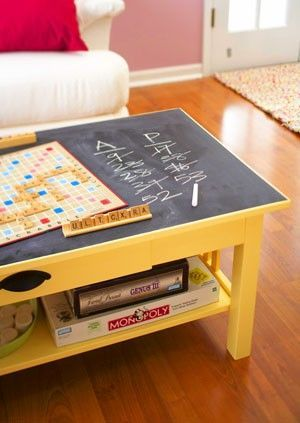 great idea for downstairs!  old coffee table with chalkboard paint on the top!