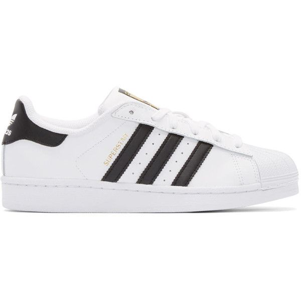 adidas Originals White and Black Superstar Sneakers found on Polyvore featuring shoes, sneakers, adidas, sapatos, leather shoes, leather sneakers, lace up shoes, leather low top sneakers and perforated sneakers