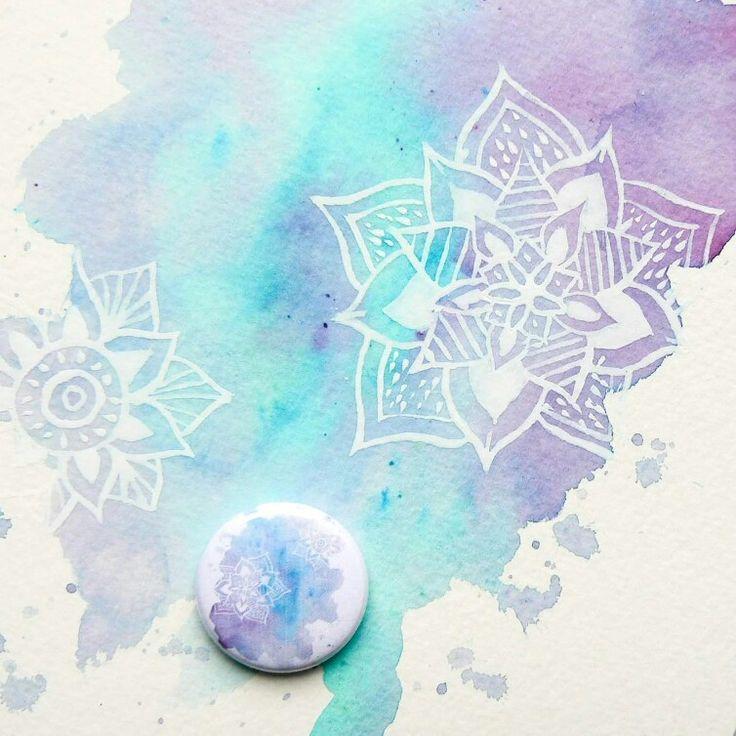 Watercolor mandala Lindy's stamp gang spray Cuts2luv flair