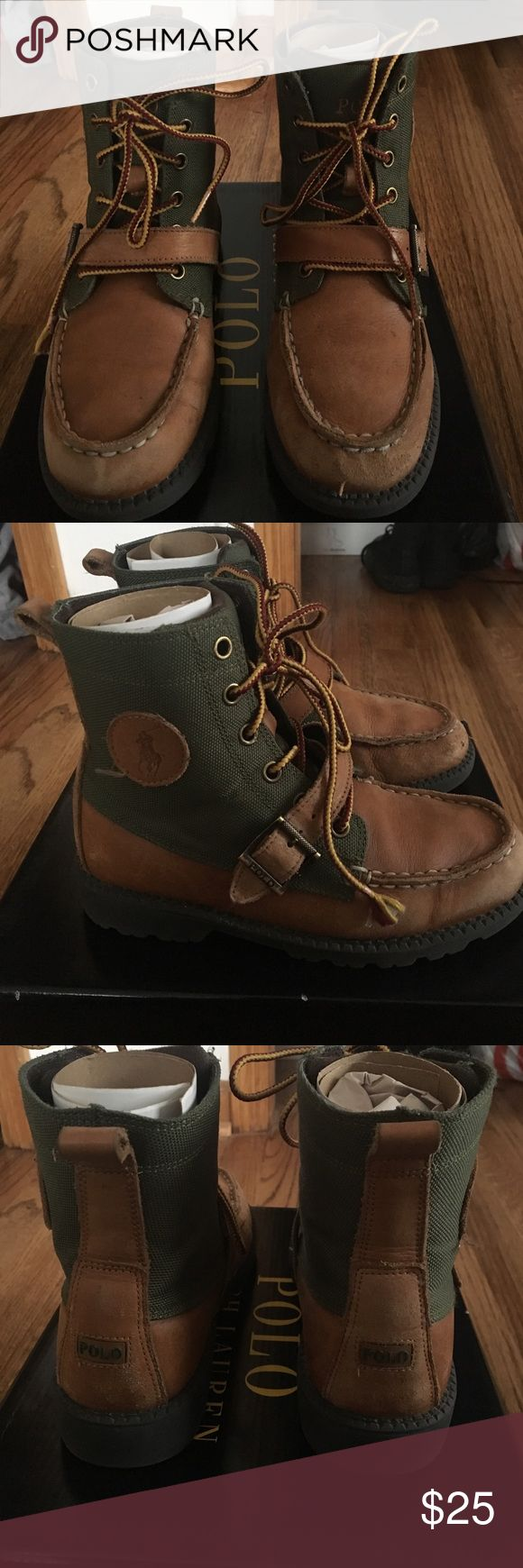 Polo Ralph Lauren Boys Leather Boots size 2 Polo boots leather and army green canvas. Worn 3 times. Come with original box. Polo by Ralph Lauren Shoes Boots