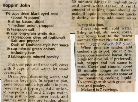 Historic Hoppin John recipe