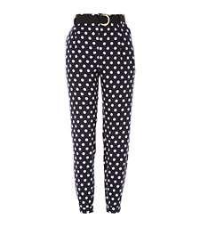 Navy polka dot high waisted trousers £32.00