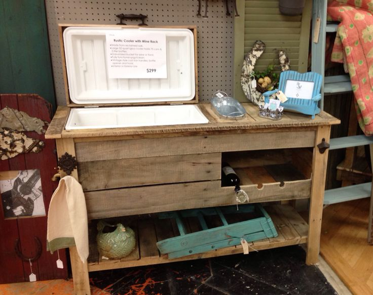 Cooler & wine rack for outdoors - Could be redesigned and made into a potting bench.