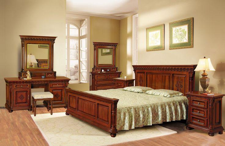 Mobila / Mobilier Dormitor clasic lemn Veronese cu sculptura 2