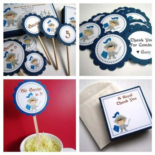 cupcake toppers and invites for Dragon & Knights Party