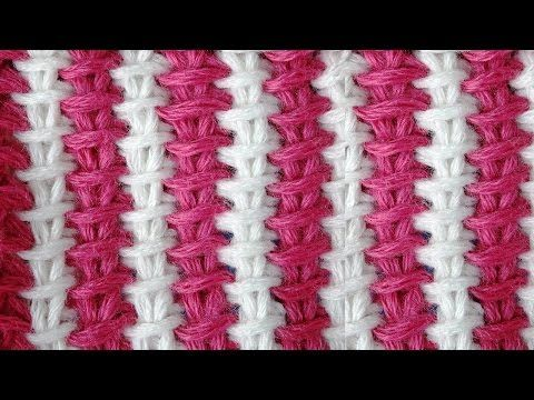 Tunisian crochet pattern Двухцветный тунисский узор вязания 1 - YouTube