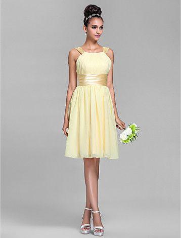 chiffon comprimento dama de honra do joelho vestido de cetim stretch e coluna bainha tiras de vestir - BRL R$ 273,57