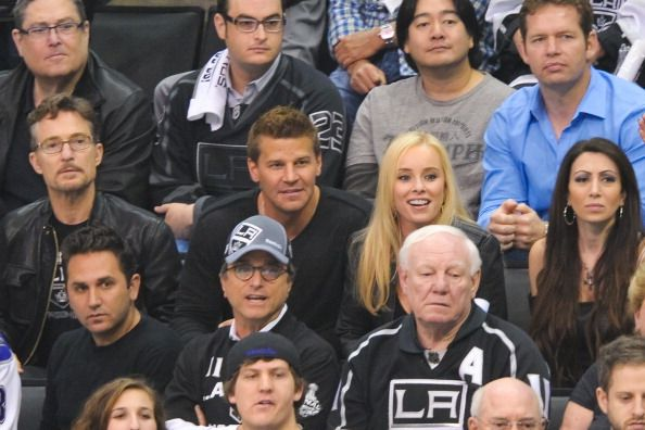 David Boreanaz and his wife Jaime Bergman attend game three of the 2012 Stanley Cup Final between the Los Angeles Kings and the New Jersey Devils at...