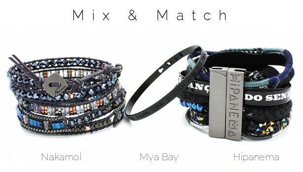 Mix & Match www.lilishopping avec bracelet wrap Nakamol, un jonc gravé Mya Bay et le bracelet Panthère Hipanema