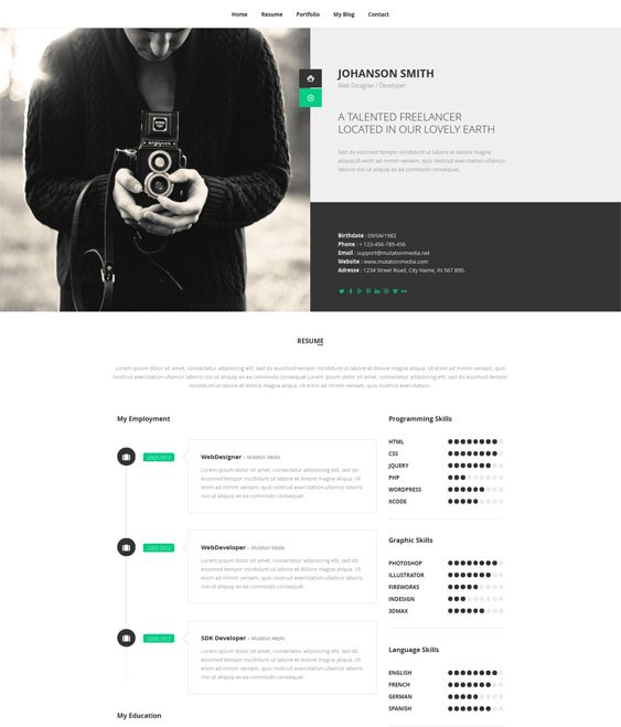 11 best More of the Best Resume, CV \ vCard WordPress Themes - wordpress resume themes