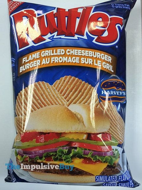 SPOTTED ON SHELVES IN CANADA: Ruffles Limited Time Only Harvey's Original Flame Grilled Cheeseburger Potato Chips