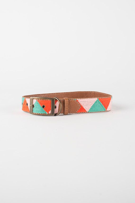 Handmade pink, red/orange and mint triangle embroidery on genuine leather with antique brass detail.