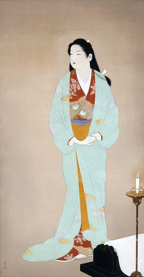 上村松園《砧》1938(昭和13)年 絹本・彩色 山種美術館