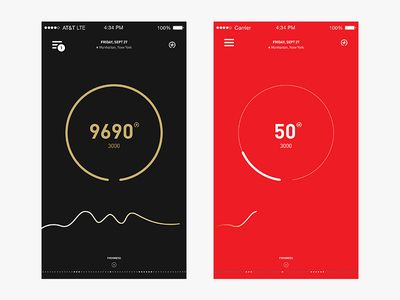 Minimalisticly designed stats in WIP-redesign of Nike FuelBuand App