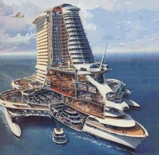 Futuristic cruise ship and hotel combination