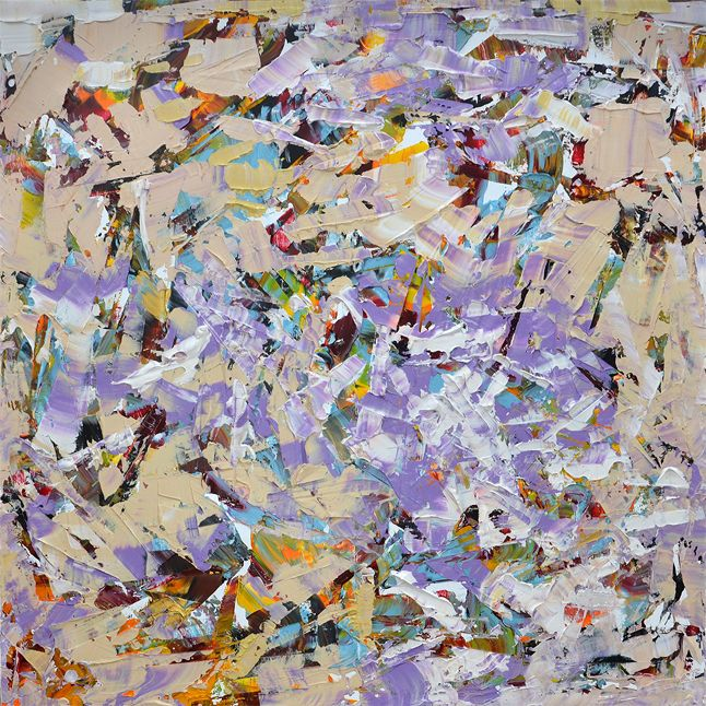 "Flavio Galvan ""Violet Flame"" oil on board, 78x78 inches  #painting #art #fineart #abstract #carnaval #argentina  Bill Lowe Gallery"