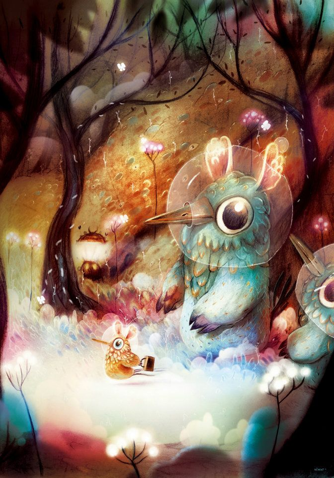 art, illustration, animal, bird, monster, tree, woodland, lighting. //  Clément Lefèvre