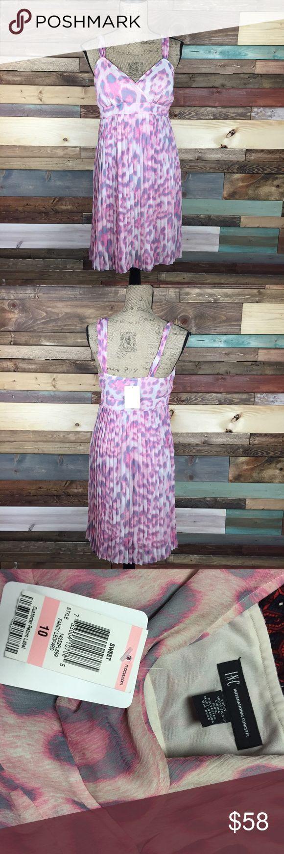 NWT INC Pink Animal Print Sun Dress – 10 NWT INC Pink Animal Print Sun Dress – 1…