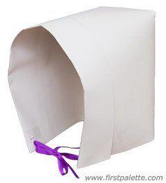 Paper Pilgrim Bonnet craft. Easy instructions to follow