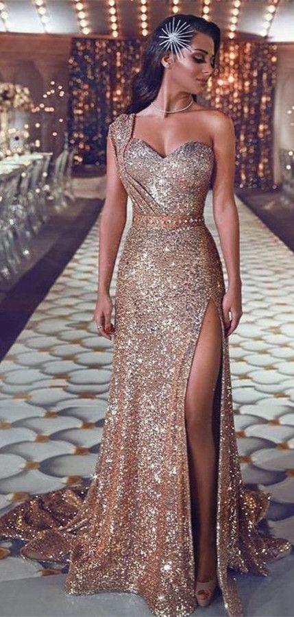 579da79b79c Gorgeous One Shoulder Sequins Evening Gowns