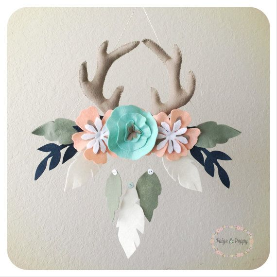 PaigeandPoppy Baby Mobile - Boho Baby Mobile - Tribal Antler and Floral Nursery Decor - Baby Girl Mobile - Peach and Gold Feather Wall Decor