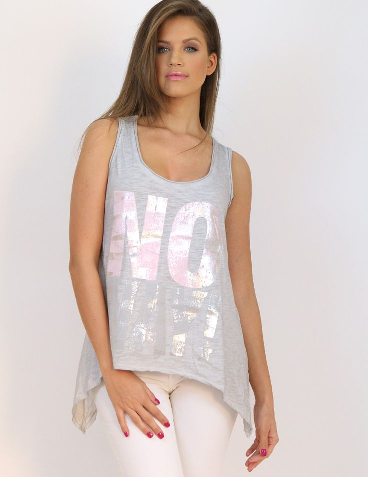 No Way Grey Sleeveless Top- www.famevogue.ro - glam and casual at the same time.  #tops #style #trends #fashion #casual #moda