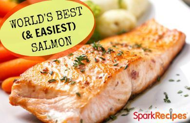 1/4 cup maple syrup or honey, 1/4 cup soy sauce, 2-3 cloves minced garlic, 4-6 salmon filets -- combine syrup, soy sauce and garlic; pour then marinate salmon for an hour; put everything in baking dish & cover with foil; bake at 350'F oven for 15 minutes