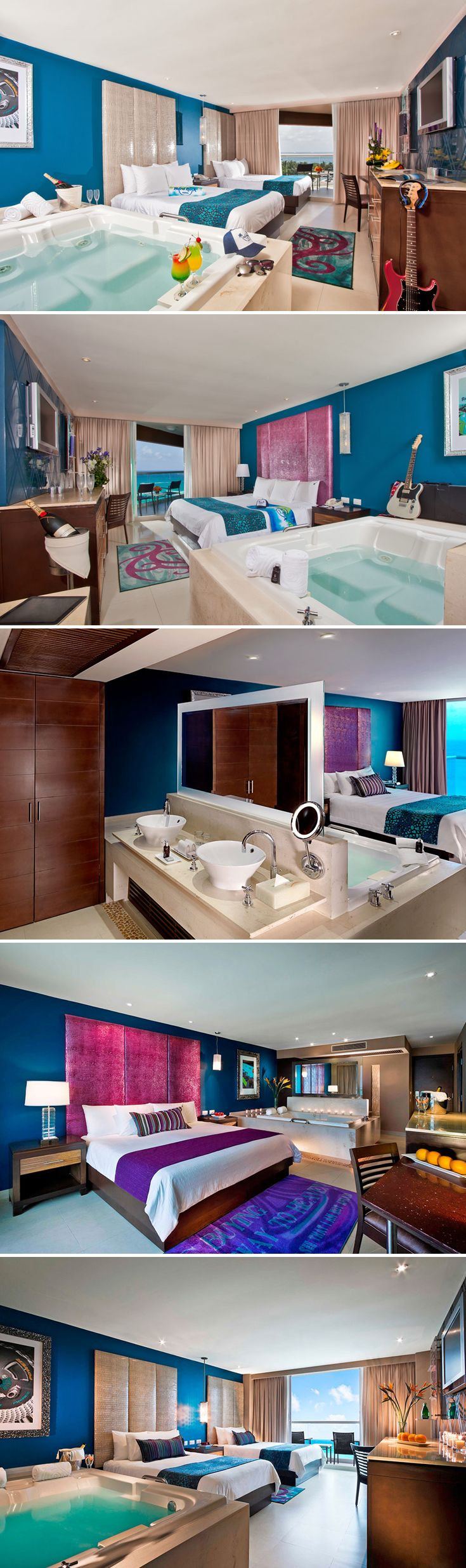 Guest accommodations at the Hard Rock Cancun include 601 luxurious rooms and suites, most with ocean views.