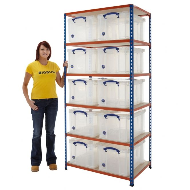 Big340 Shelving Bay With 10 X 48 Litre Really Useful Boxes Storage Kits Workshop Storage Storage