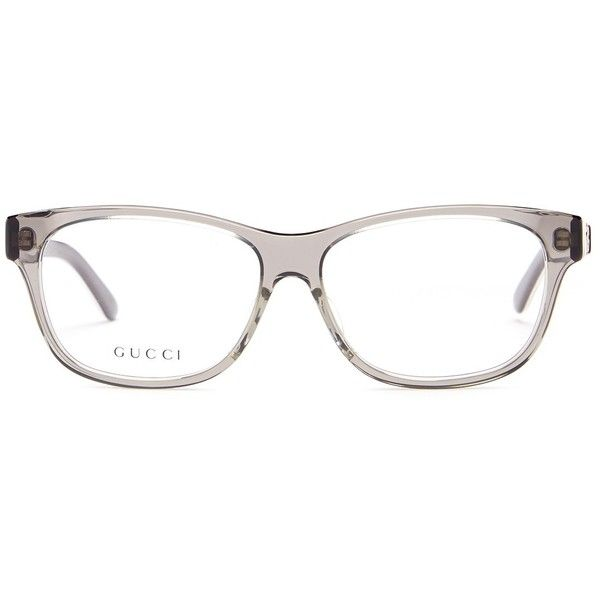 GUCCI Women's Square Optical Frames ($100) ❤ liked on Polyvore featuring accessories, eyewear, eyeglasses, greyredwh, square glasses, square eyeglasses, clear lens glasses, clear glasses and gucci glasses