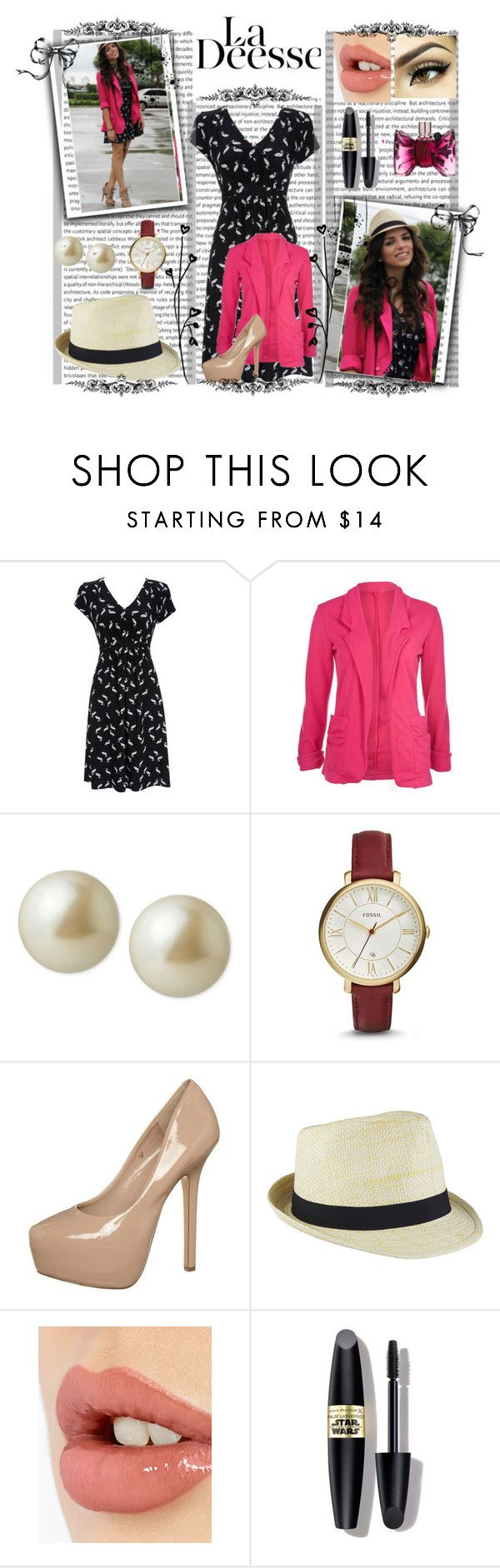 """""""Casual Dress with Coat"""" by zafia-13 ❤ liked on Polyvore featuring Wallis, Carolee, FOSSIL, Steve Madden, Charlotte Tilbury, Max Factor, Viktor & Rolf, women's clothing, women's fashion and women"""