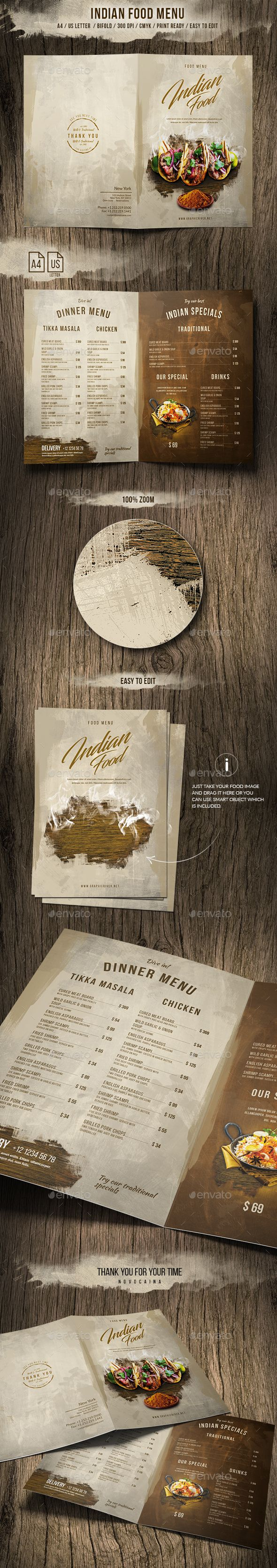 Indian A4 and US Letter Food Menu Template PSD