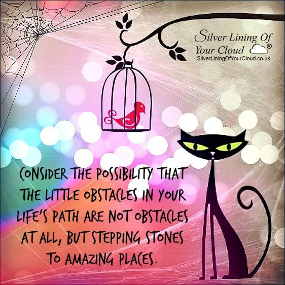 Consider the possibility that the little obstacles in your life's path are not obstacles at all, but stepping stones to amazing places. ..._More fantastic quotes on: https://www.facebook.com/SilverLiningOfYourCloud  _Follow my Quote Blog on: http://silverliningofyourcloud.wordpress.com/